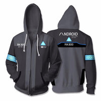 Mens Zip Up Hoodies 3D Printed Hoodie Game Detroit Connor Cosplay Jacket For Mens - Tina Store
