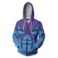 Mens Zip Up Hoodies Skeletor Master of the Universe 3D Casual Hip Hop Tops Blue Hoodie For Mens