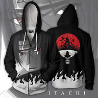 Mens Zip Up Hoodies Uzumaki Naruto Cosplay Black Hoodie Unisex And Kids