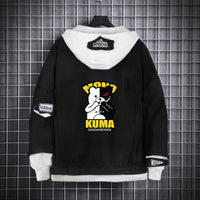Monokuma Hoodie Cosplay Costume Boys Girls Black Thick Casual Outwear Uniform Jackets
