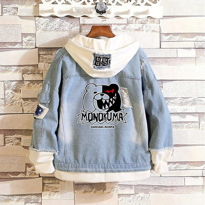 Monokuma Hoodie Costumes Danganronpa Denim Jeans Jacket Zipper For Cute Girls W113 - Tina Store