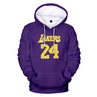 NBA Hoodie Kobe Bryant Lakers 24 Pullover Casual Fashion Hip Hop Streetwear A1254