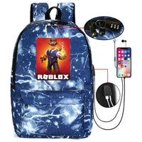 Roblox Backpack Anti-theft USB Charging Student Schoolbag With Password Lock B1026