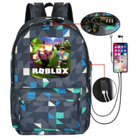 Roblox Backpack Anti-theft USB Charging Student Schoolbag With Password Lock B1027