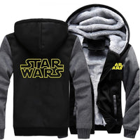Star Wars Hoodie Sweatshirt Men Warm Fleece Thick Zipper Hooded