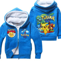 Winter Sweatshirt Cotton Cartoon POKEMON GO Pikachu Kids Boys Girls Clothes Long Sleeve Hoodies With Zipper Retail