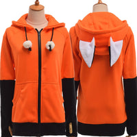 Womens Zip Up Hoodies Animal Fox Ear Cosplay Costumes Coat Warm