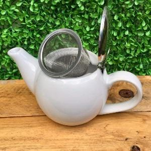 2 cup White cafe teapot with stainless steel infuser