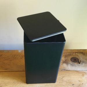 Tall Matt Black Square Tin with flat lid