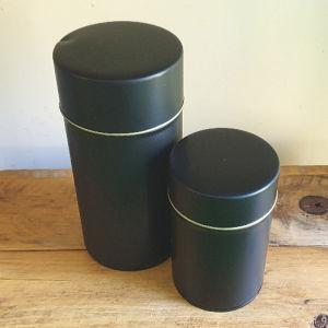 Round Matt Black Tins for tea in 2 sizes, small and medium