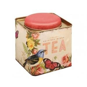 Bird and Butterfly Nostalgia Old fashioned Tea Tin with pink lid