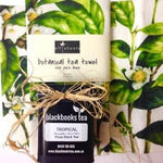 Botanical Linen Tea Towel of Camellia Sinensis Plant plus tin of plain black Nucifora tea