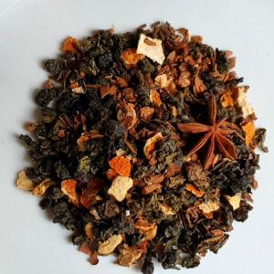 Oolong tea leaves with star anise, orange and cinnamon