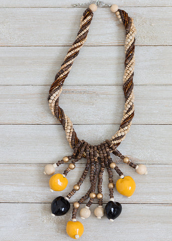 Coco Pukalet and Heishe Wood Beads Necklace with Kukui Nuts
