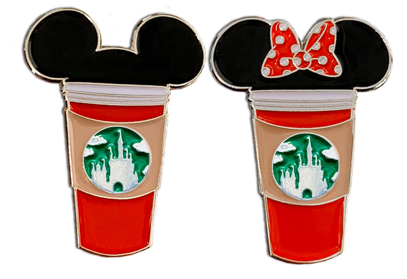 Red Holiday Mickey and Minnie Castle Cup Pins