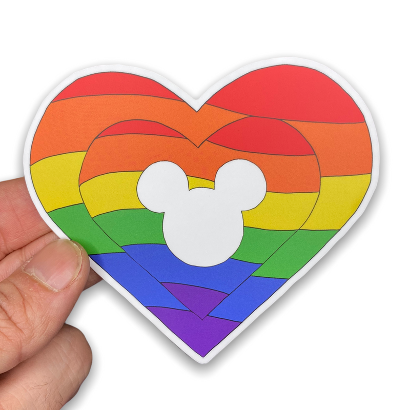 Rainbow Mickey Heart Sticker