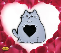 Fat Cat Love Pin ( White )