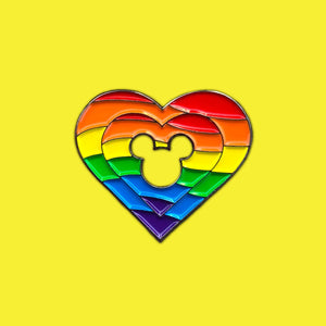 Rainbow Mickey Heart Pin