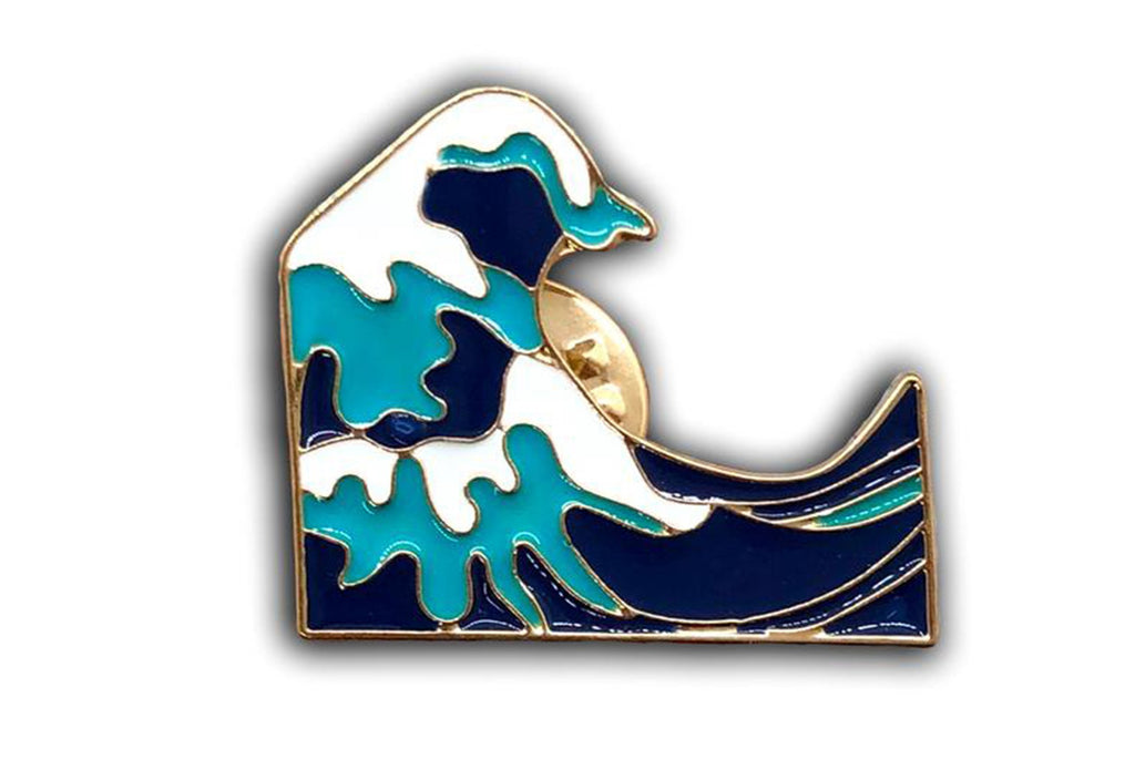 Blue Wave Emoji Pin