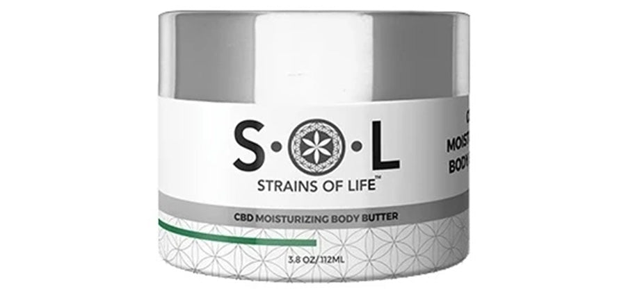 CBD body butter moisturizing topical rub for pain relief.