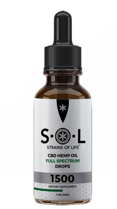 S•O•L CBD HEMP OIL DROPS 1500 - NATURAL FLAVOR - FULL SPECTRUM