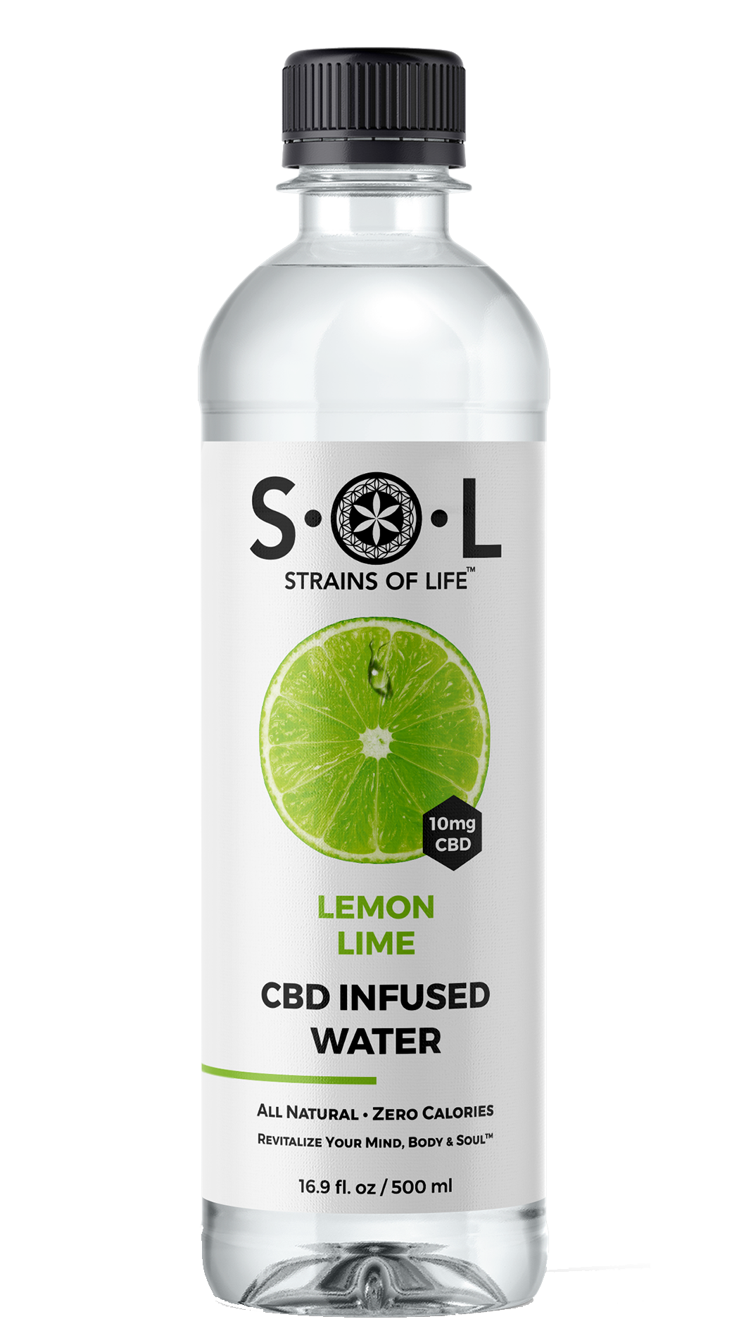 S•O•L CBD INFUSED WATER - LEMON LIME - 12 Bottle Box - 16 Oz Per Bottle
