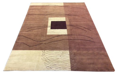 Tibetan Brown Ivory Hand-Knotted Rug