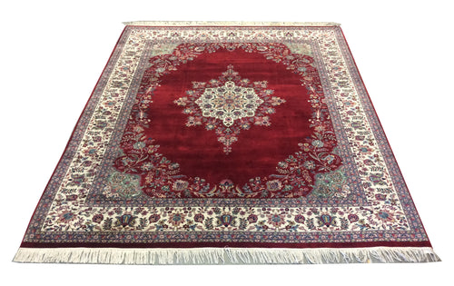 Pak Persian Red Navy Blue Hand-Knotted Rug