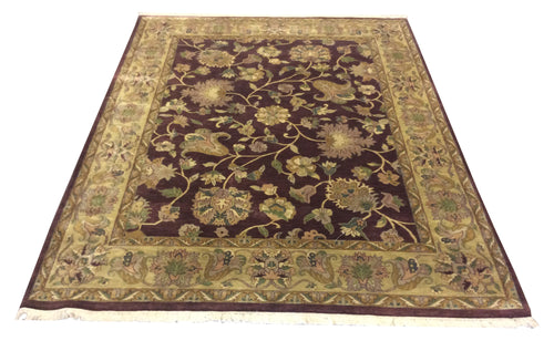 Jaipur Mauve Earth Tones Hand-Knotted Rug