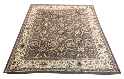 Tufted Tabriz Grey Taupe Hand-Knotted Rug