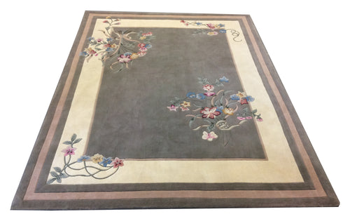 Tufted French Aubusson Green Hand-Knotted Rug