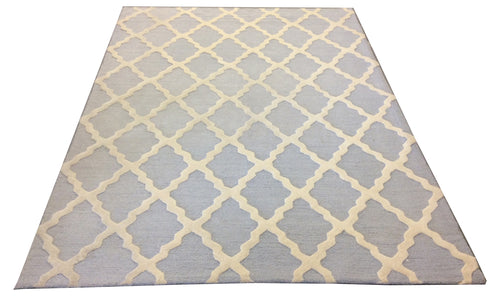 Tufted Tibetan Blue Ivory Hand-Knotted Rug