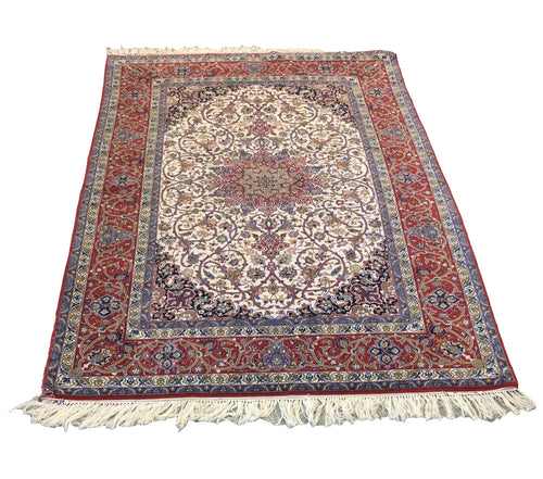 Esfahan Ivory Red Blue Hand-Knotted Rug