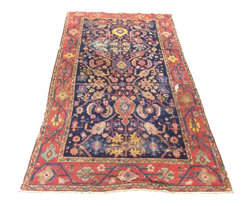 Antique Persian Tribal Navy Blue Red Hand-Knotted Rug - Rug Tycoon