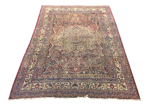 Antique Kerman Shan Red Hand-Knotted Rug - Rug Tycoon