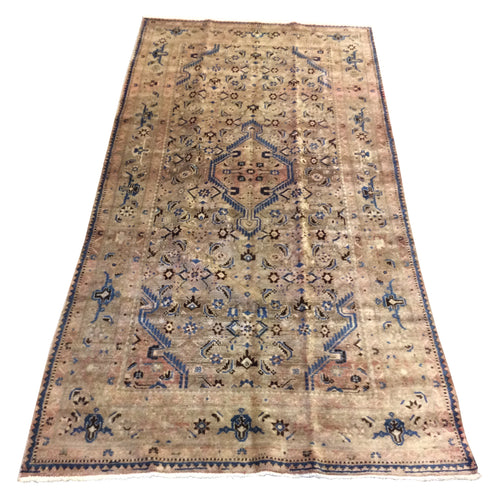 Vintage Persian Tribal Neutral Grey Blue Hand-Knotted Rug