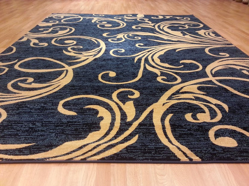 D608 Dark Blue Area Rug - Rug Tycoon