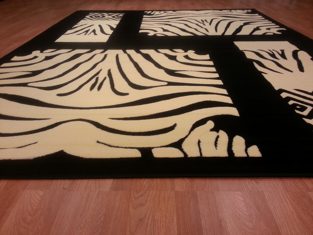 E509 Black Grey Area Rug - Rug Tycoon