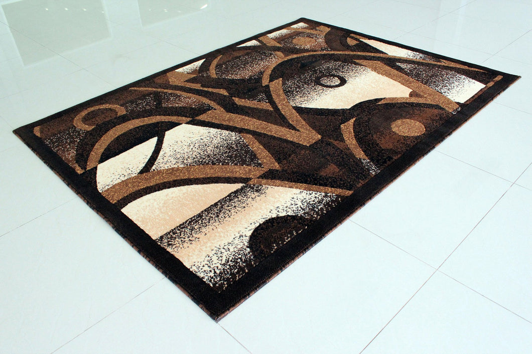 E514 Black Brown Area Rug