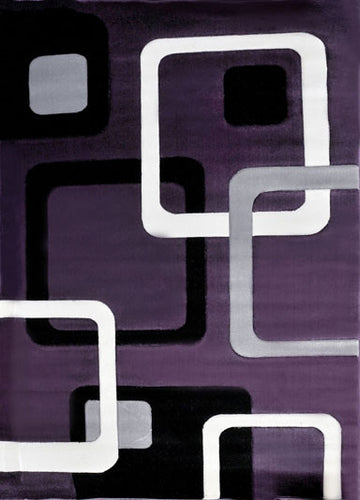 J707 Purple Black Area Rug