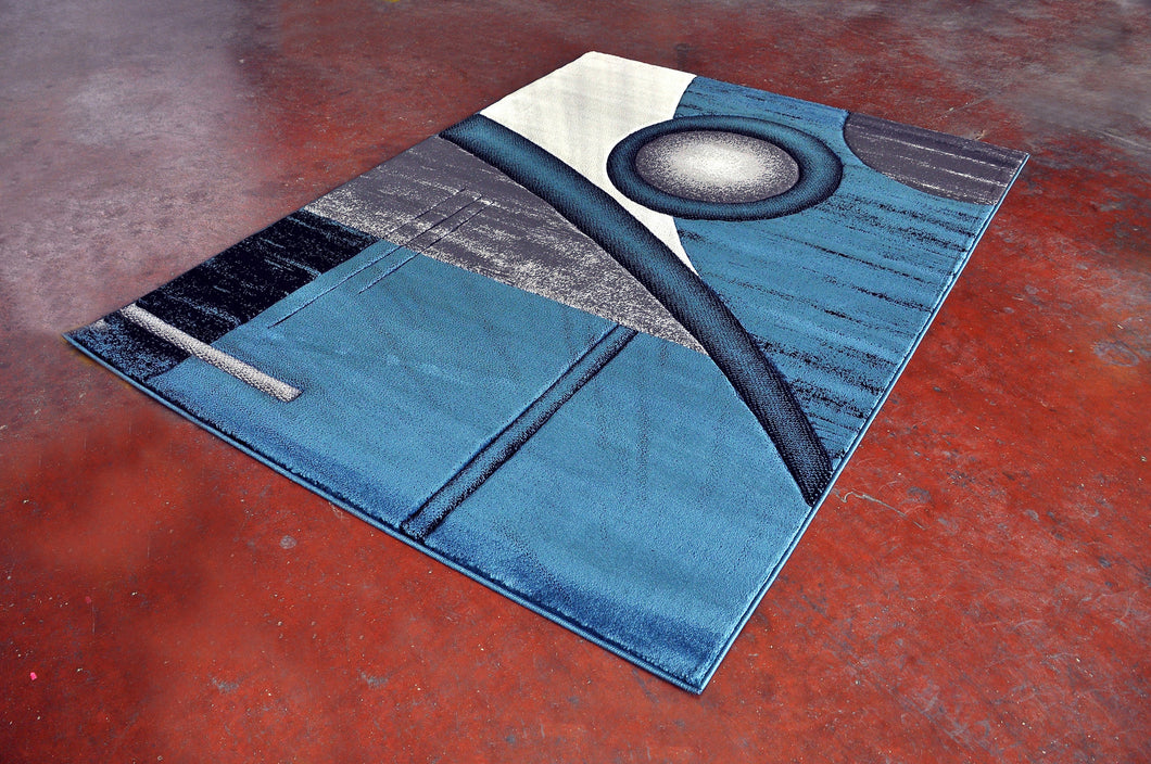J718 Blue Black Area Rug - Rug Tycoon