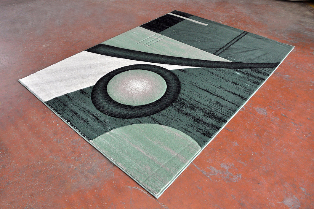 J718L Green Black Area Rug - Rug Tycoon
