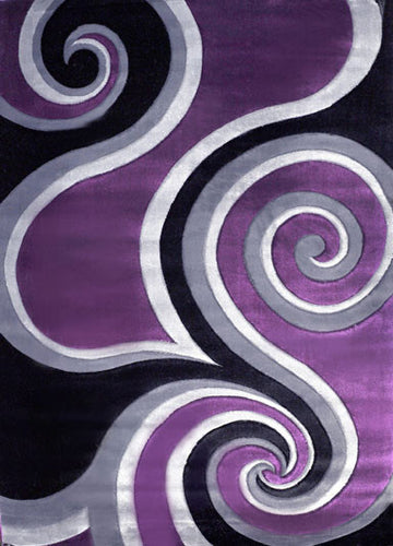 J723 Purple Black Area Rug