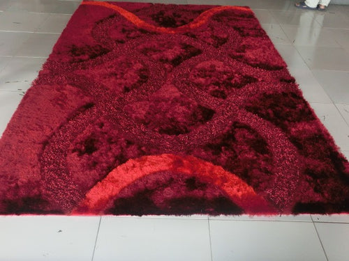 Reshmi Stain Resistant Burgundy Area Rug