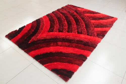 Reshmi Wave Pattern Burgundy Area Rug