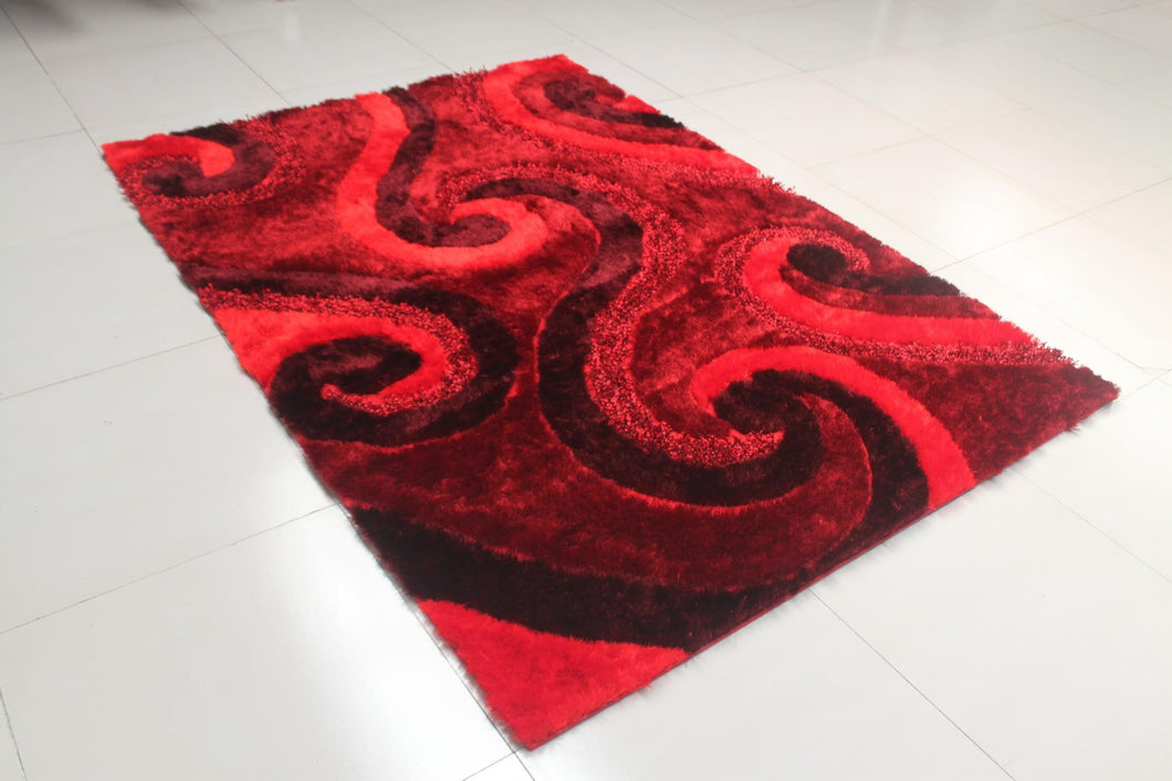 Reshmi Stain Resistant Rectangle Burgundy Area Rug