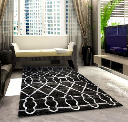 SH104 Grey Black Area Rug - Rug Tycoon