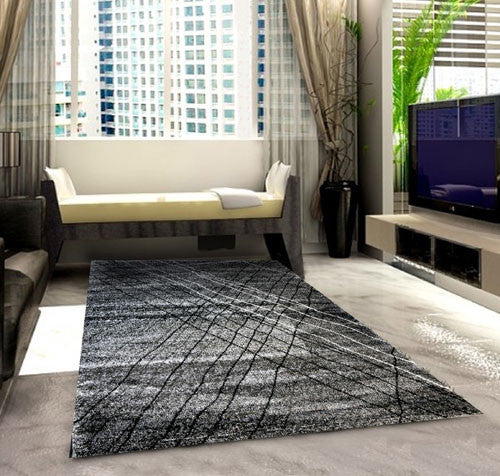 SH105 Grey Black Area Rug - Rug Tycoon