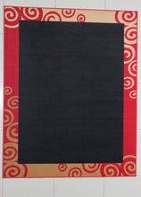 W1502 Black Red Area Rug