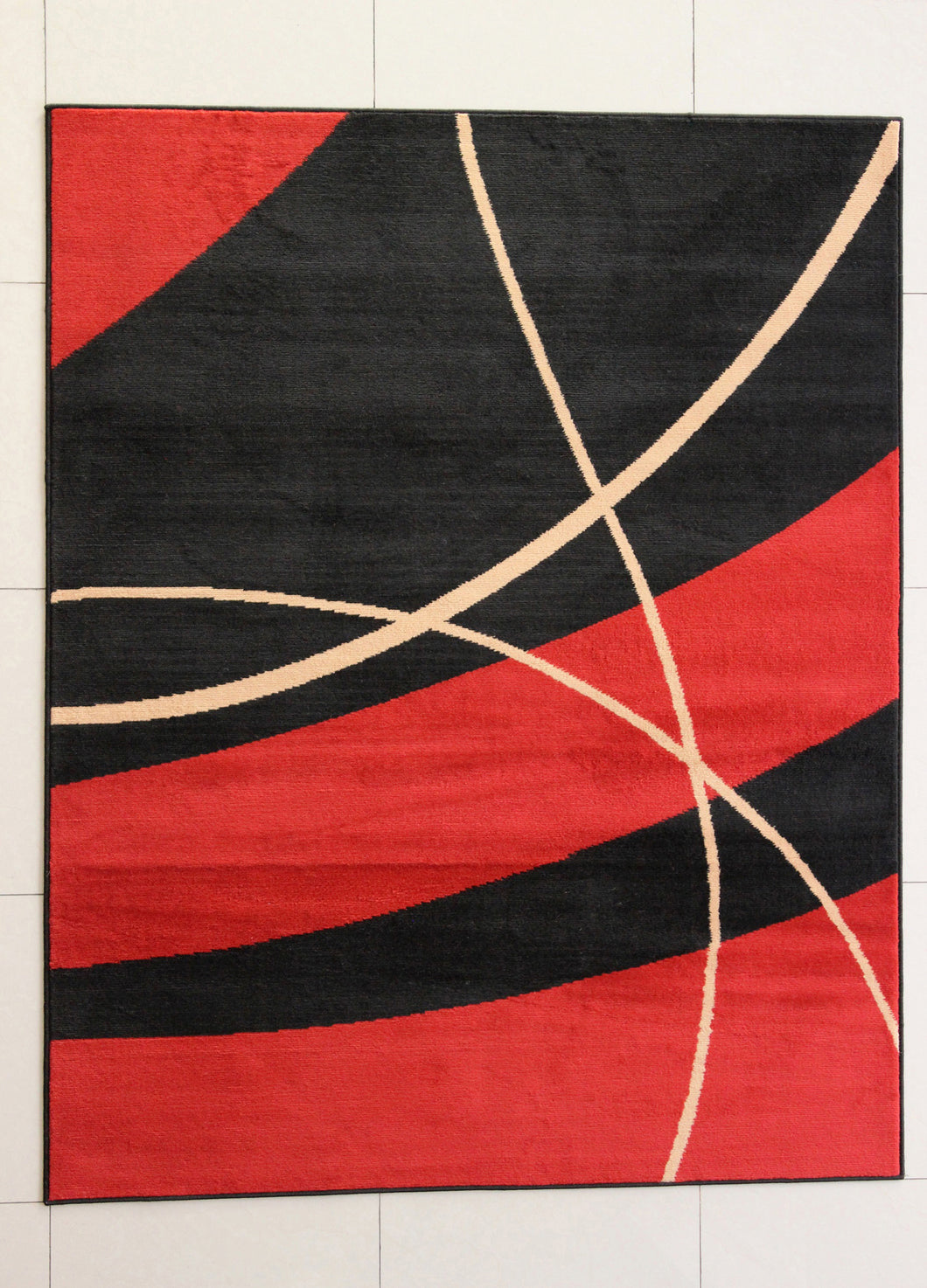 Olatayo Stain Resistant Black/Orange Area Rug